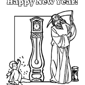 Father Time And Baby New Year Says Happy New Year To All Coloring Page