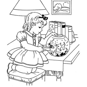 Feeding Goldfish Winter Indoor Activities Coloring Page
