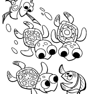 Fingding Nemo Sea Turtle  Coloring Page
