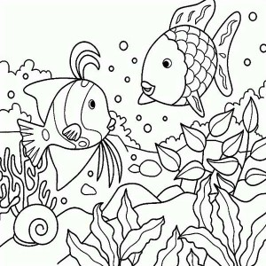Free Rainbow Fish Sea Animals Coloring Page