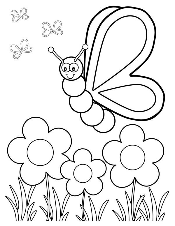 Friendly Butterfly In The Garden Coloring Page Download