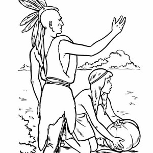 Friendly Indian Welcoming The Pilgrims On Thanksgiving Day Coloring Page