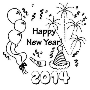 Fun 2014 New Years Decoration Coloring Page