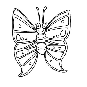 Funny Butterfly With Winked Eye Coloring Page