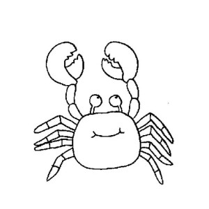 Funny Crab With Big Smile    Sea Animals Line Art Coloring Page