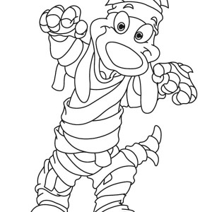 Funny Face Mummy Dog Free Coloring Page