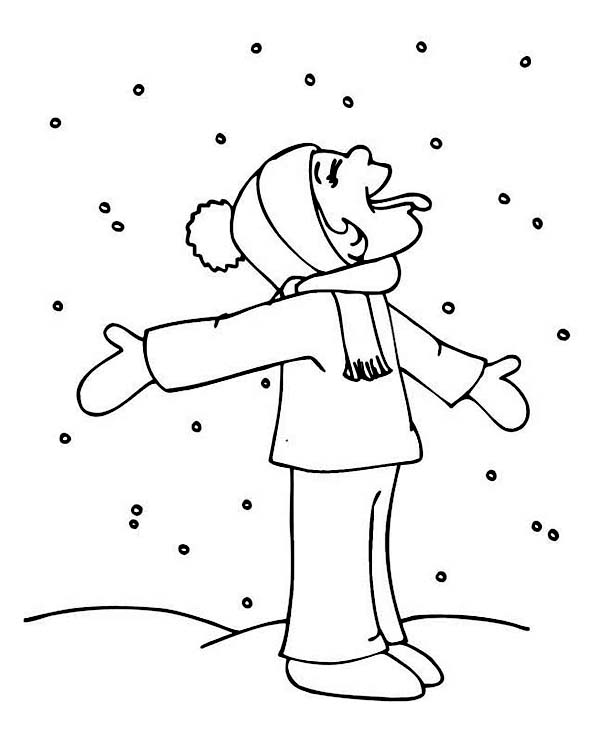 Funny Kid Tasting Snow On Winter Coloring Page - Download & Print ...