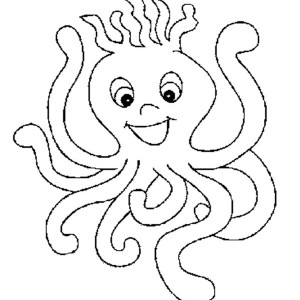 Funny Octopus Lineart Free Coloring Page
