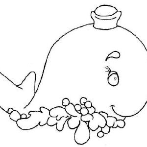 Funny Whale Wearing Sailor Custome   Free Sea Animals Coloring Page