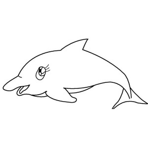Girly Dolphin Free Sea Animals Coloring Page