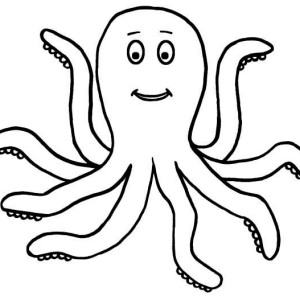 Happy 7 Legged Octopus Sea Animals Coloring Page