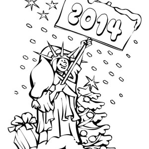Happy New Year To America Says The Liberty Coloring Page