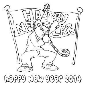 Happy New Years Blower On New Years Eve Coloring Page