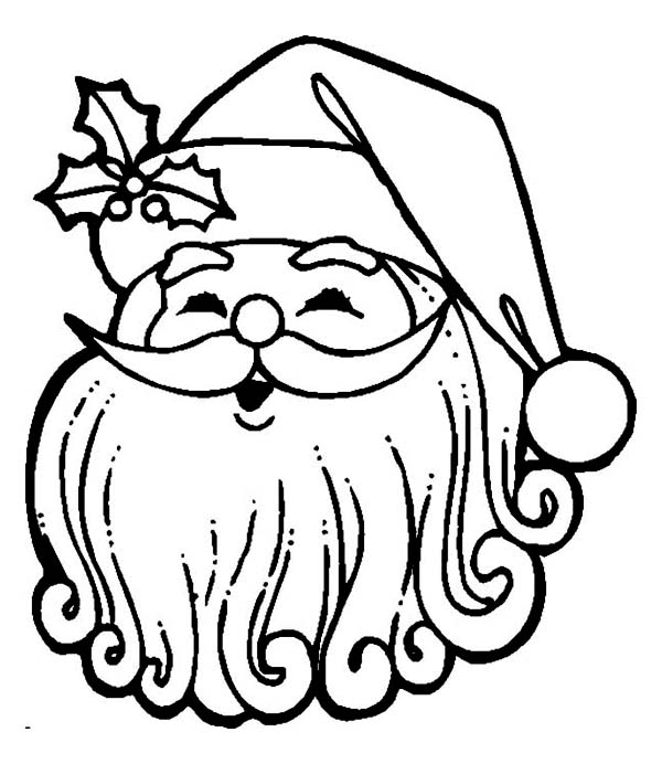 happy santa with curly beard coloring page christmas