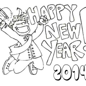 Happy Student On New Years Party Coloring Page