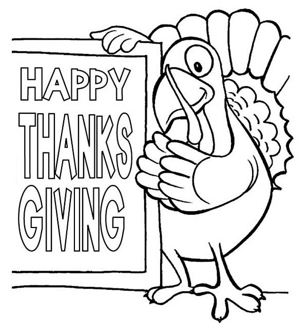Happy Thanksgiving Day Says The Turkey Coloring Page ...