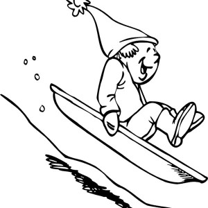 Hilarious Guy Slidding Down On Single Board During Winter Coloring Page