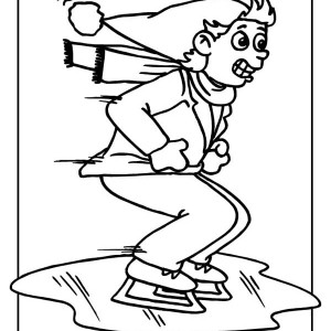 Ice Skating On Frozen Lake Coloring Page