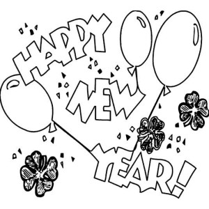 Irish New Year Celebration With Shamrocks Coloring Page