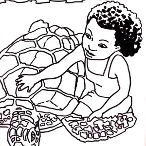Kid Rescue A Sea Turtle Coloring Page