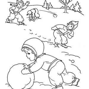 Kids Outdoor Activities On Winter Coloring Page