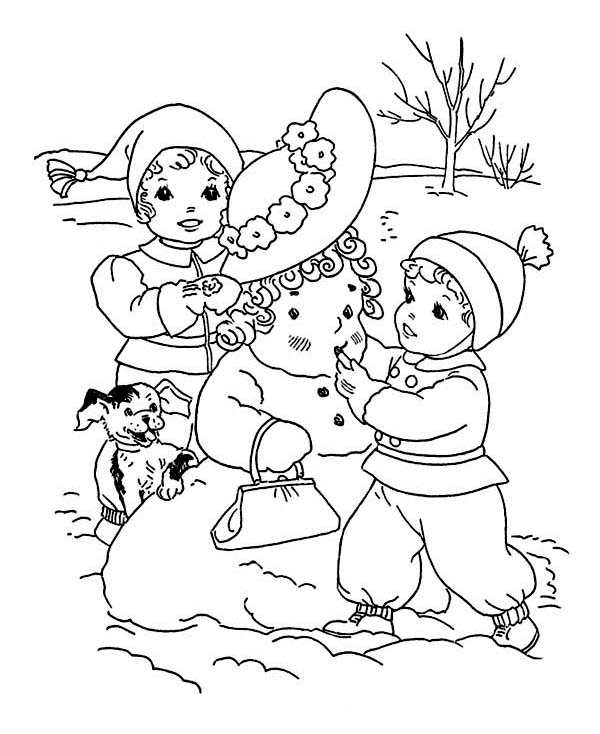 Snowman Winter Free Christmas S For Kidsc83e Coloring Pages Printable | 734x600