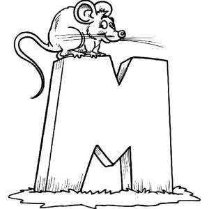 Letter M For Little Mouse Coloring Page