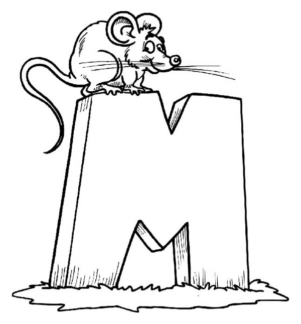 Letter M For Little Mouse Coloring Page Download Print Online