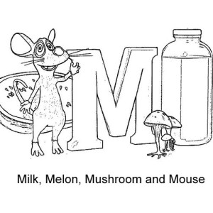 Letter M For Milk Melon Mushroom And Mouse Coloring Page