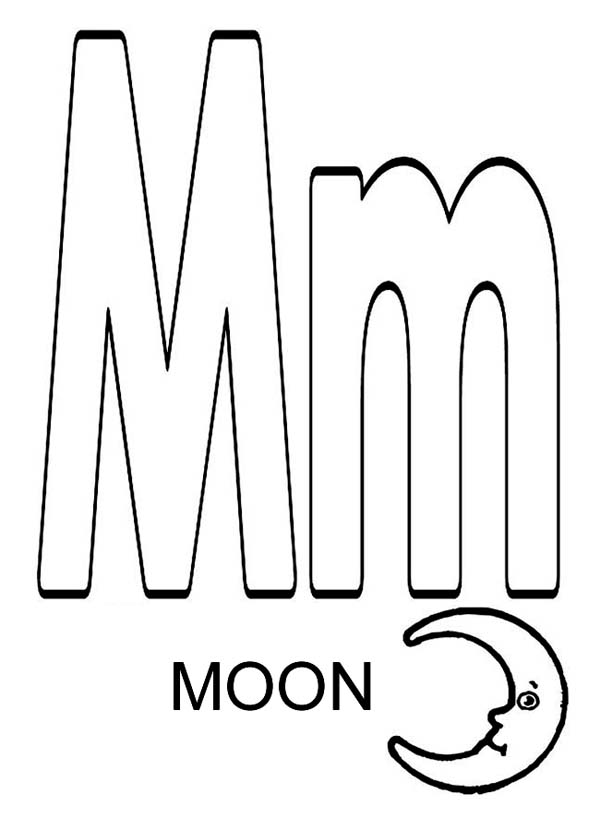 Letter M For Moon Coloring Page - Download & Print Online ...