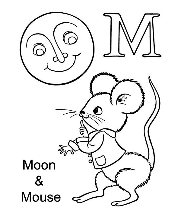 letter m for moon and mouse coloring page download print online coloring pages for free. Black Bedroom Furniture Sets. Home Design Ideas
