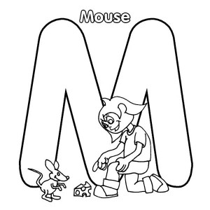 Letter M For Mouse And Little Kid Coloring Page