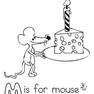 Letter M For Mouse With Birthday Cheese Coloring Page