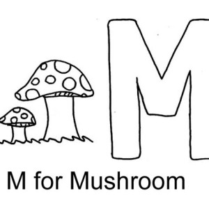 Letter M For Mushroom Coloring Page