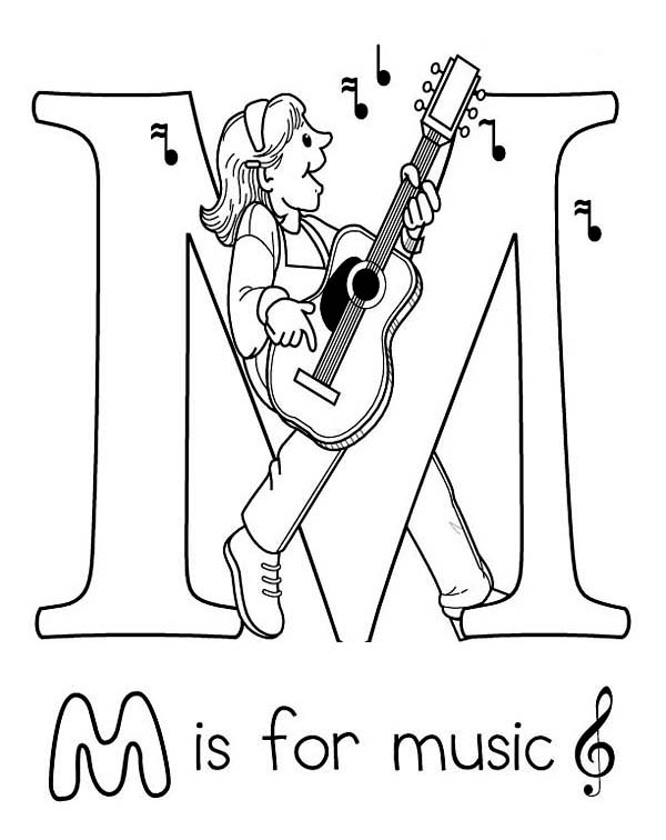 Letter M For Music Coloring Page