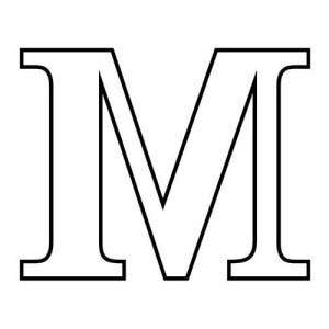 Letter M In Block Letter Coloring Page