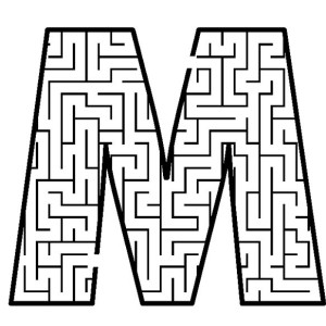 Letter M In Pattern Background Coloring Page