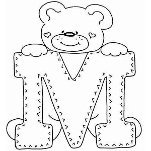 Letter M With Cute Teddy Bear Coloring Page