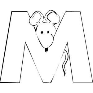 Letter M With Mouse In The Back Coloring Page