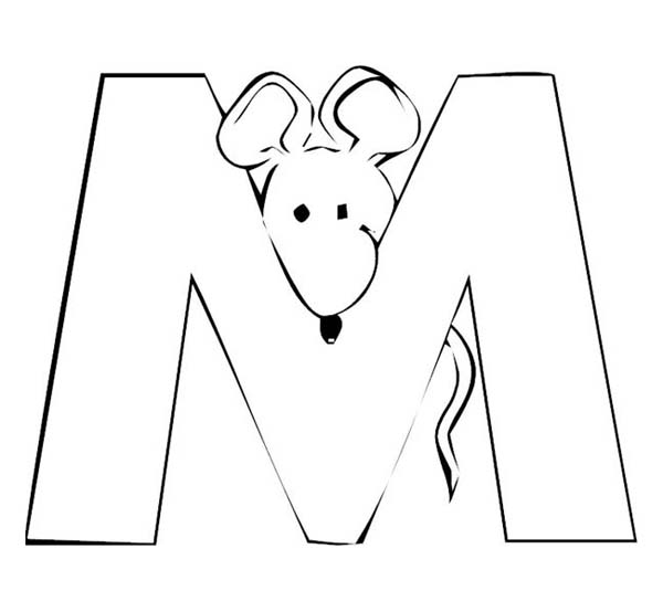 letter m with mouse in the back coloring page download print