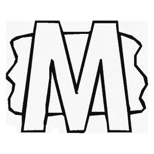 Letter M With Splash Background Coloring Page