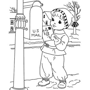 Little Kid Mailing Santa On Winter Christmas Present Coloring Page