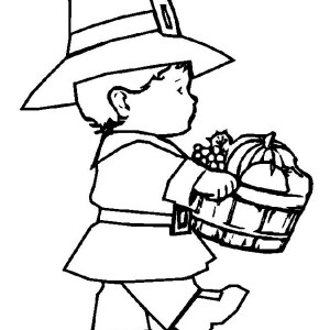 Little Pilgrim Boy Holding Fruit Barrel On Thanksgiving Day Coloring Page