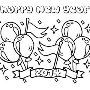 Lovely 2014 New Years Background Coloring Page