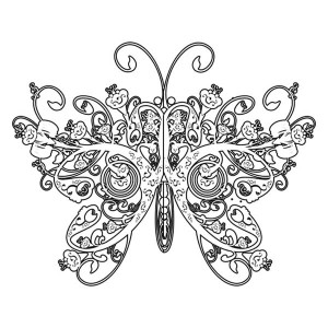 Lovely Butterfly Image In Ethnic Pattern Coloring Page