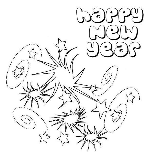 Lovely Swirling Firework On New Years Party Coloring Page Download