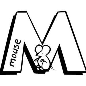 M Letter For Little Mouse Coloring Page