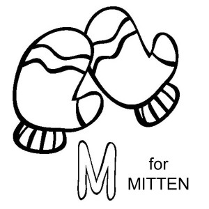 M Letter For Mitten Coloring Page