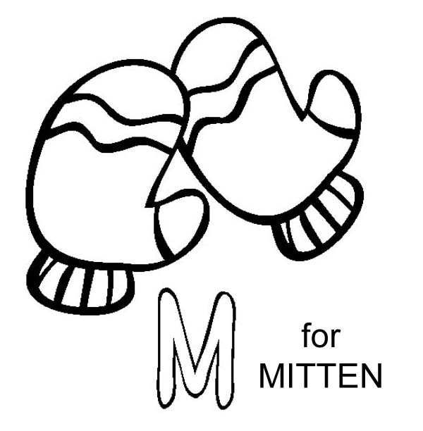 M Letter For Mitten Coloring Page - Download & Print ...