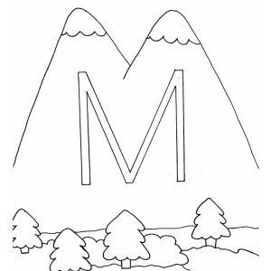 M Letter For Mountain Coloring Page